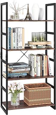 Homfa Bookshelf Rack 4 Tier Vintage Bookcase Shelf Storage Organizer Modern Wood Look Accent Metal Frame Furniture Home Offic