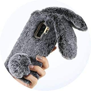 Rabbit Hair Case for Samsung A3 A5 A7 J3 J5 J7 2016 2017 Fluffy Fur Soft Case for Samsung Galaxy S8 S9 Plus Note 9 8,Dark Gray,for S8 Plus