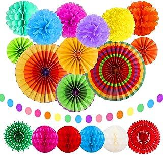 Dadabig 20pcs Decoración de la Fiesta, Abanicos Papel Colorido Pompones de Papel Ventiladores de Papel Colgando Guirnaldas para Decorar Fiestas Bodas Carnaval