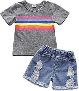 Weixinbuy Baby Boy's Short Sleeve American Flag Pattern Crewneck T-Shirt Top Tee Frayed Denim Shorts Clothes Set