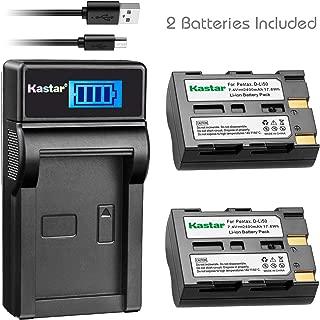 Kastar Battery (X2) & LCD Slim USB Charger for Pentax D-Li50 and Pentax K10 K10D K20 K20D Konica Minolta NP-400 Sigma BP-21 A-5 A-7 Dimage A1 A2 Dynax Maxxum 5D 7D Samsung SLB-1647 GX-10/20 Sigma SD1
