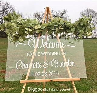 "Custom Wedding Sign Welcome Wedding Decal Vinyl Handmade Decor For Display Clear Glass Look Acrylic (16.5""h x 26""w PLUS FREE WELCOME DOOR DECAL)"