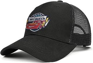 Soft Mesh Back Black Baseball Hats Lightning-McQueen-Cars-Logo-Fo Men Women Printed Sun Hat
