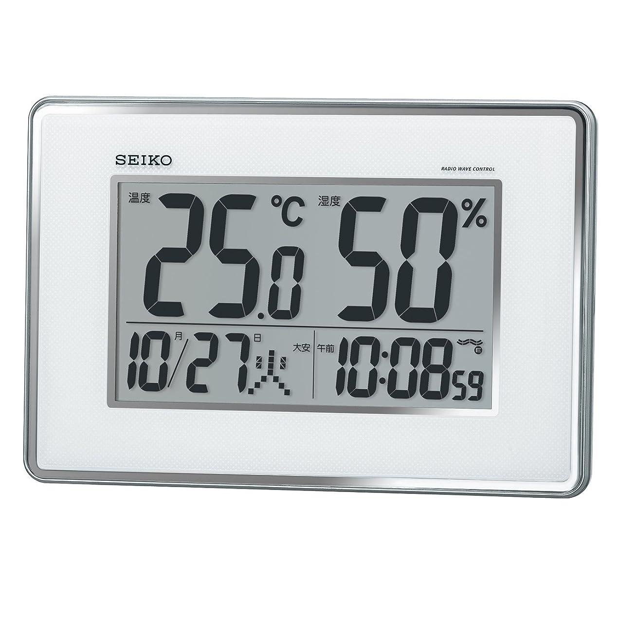 起点人間以下セイコー クロック 掛け時計 置き時計 兼用 電波 デジタル カレンダー 温度 湿度 表示 銀色 メタリック SQ437S SEIKO