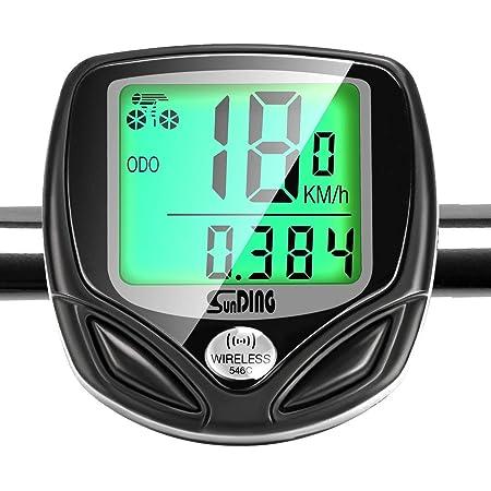 Gibot Contachilometri per Bici, Ciclocomputer Senza Fili, Computer di Bicicletta,Impermeabile Bici Computer, Tachimetro Bici Ciclocomputer con 16 Funzioni e Display LCD Retroilluminato, Nero