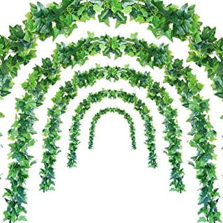 JUSTOYOU 5Pcs 44Ft Artificial Ivy Leaf Garland Plants Vines with Leaves Hanging Greenery Fack Ivys Vines for Wedding Outside Party Home Decor