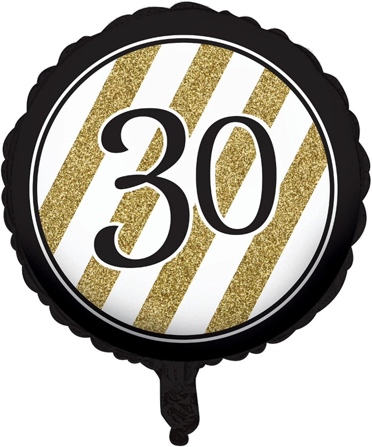 Pack of 10 Black & gold Metallic 30  Birthday or Anniversary Foil Party Balloons