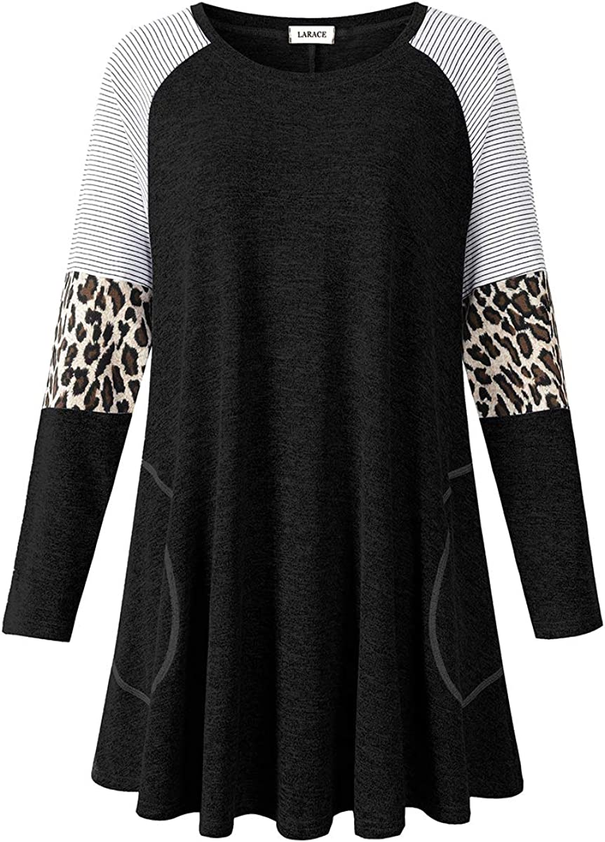 LARACE Swing Tunic Manufacturer regenerated product Top for Women Leopard Long Size S Sleeve Plus San Francisco Mall