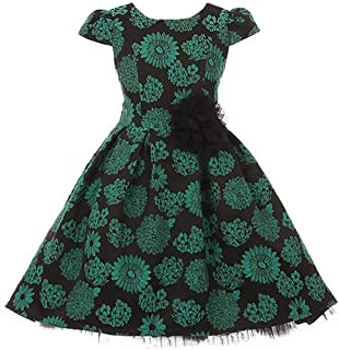Peek-A-Boo Four Layers Tulle Hi-Low Style Brocade Jacquard Flower Girl Dress