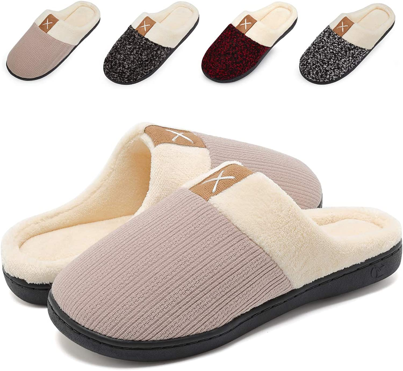 VIFUUR Women's Comfort Slippers Memory Foam Plush Lining Slip-on House shoes Indoor