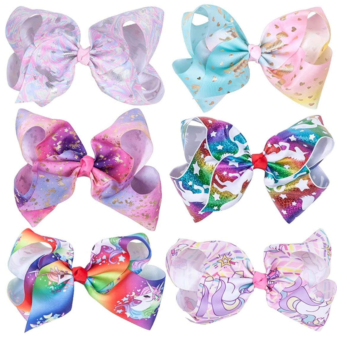 Rsky 7inch Big Sparking Unicorn Cheer Bow Hair Clips for Dancing Cheerleading Girls Pack of 6 (Style 1)