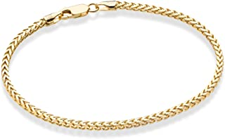 Miabella Solid 18K Gold Over Sterling Silver Italian 2.5mm Franco Square Box Link Chain Bracelet for Men Women 7, 8 Inch 925 Made in Italy
