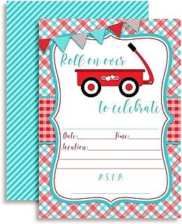 Little Red Wagon Boy Birthday Party Invitations, 20 5