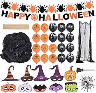 Faburo Halloween Decoration - Banniere Happy Halloween, Toile d'Araignees, Tissu Effrayante avec Araignee, Ballons