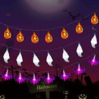 LDHTY Halloween Decorations String Lights,3PACK 20 LEDs Orange Pumpkins/Purple Bats/White Ghosts Holiday Lights,for indoor outdoor Halloween Party Decoration