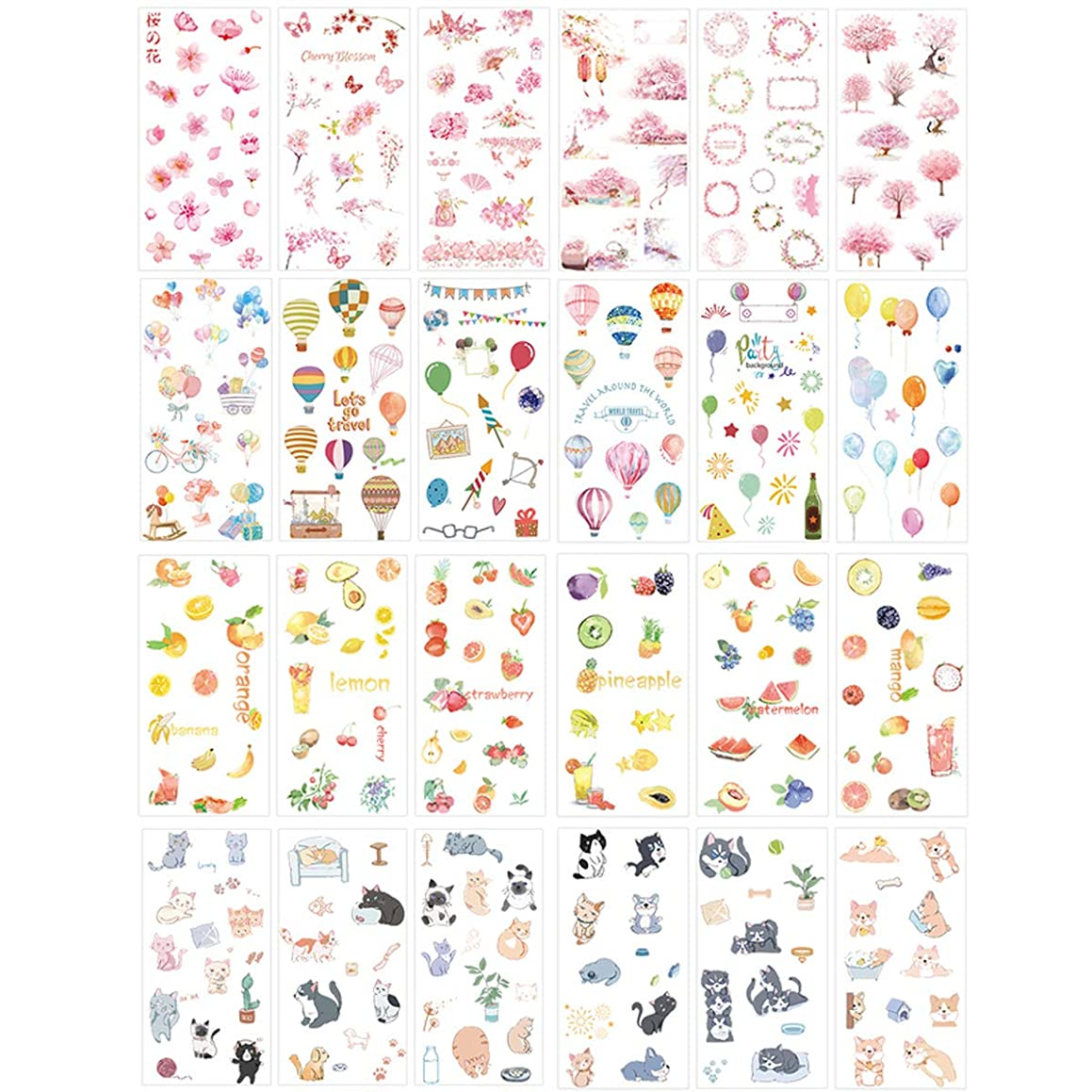 Kawaii Stationery Sticker Set Balloon Pet Dog Fruit Sticker Label for Scrapbooking Album Decoration Art DIY Craft