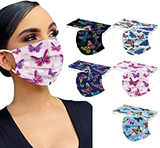 50PC Disposable Face Mask for Adults Breathable 3 Ply Filter Butterfly Printed Face Protective Balaclava Designer Mouth Du...