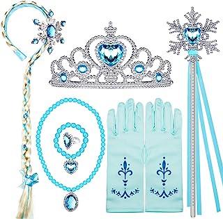 لوازم جانبی لباس السا پرنسس جواهرات منجمد ست اسباب بازی مخصوص دختران دارای کلاه گیس بند ، تاج ، گردنبند ، گرز ، انگشتر ، گوشواره دستبند دستکش السا سیندرلا لوازم جانبی لباس