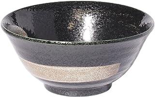みのる陶器 丼 黒結晶 白刷毛 4.8寸