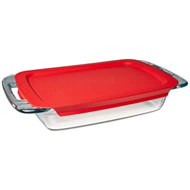 Pyrex Easy Grab Glass Food Bakeware and Storage Container (2-Quart, BPA Free Lid)