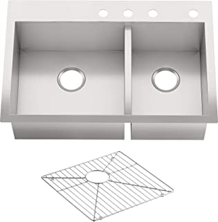 Grey Transolid RTDO3322-17-AC Radius 22.0625-in x 33.0625-in Granite Drop-in 2-Hole Double Bowl Sink