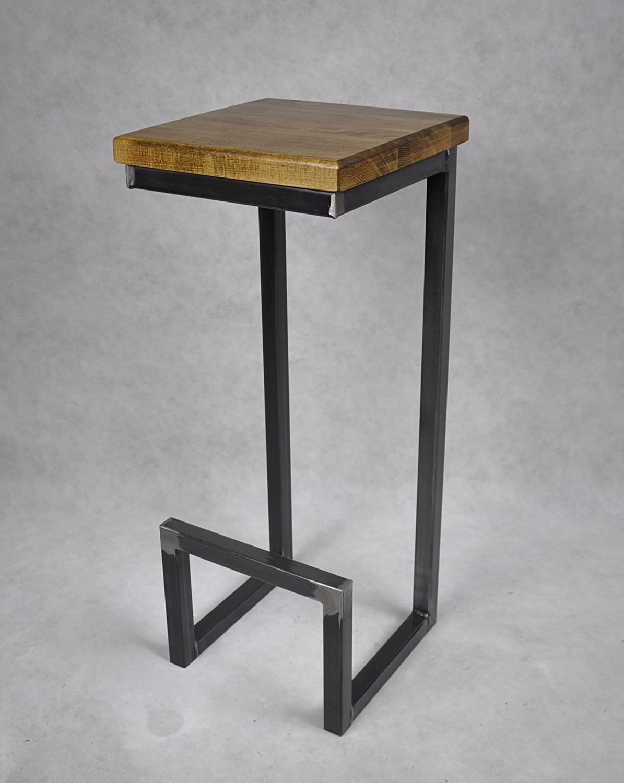 Magnetic Mobel Barhocker Stahl Holz massiv C-Style Barstuhl Industrial Design Metall Hocker H 78 cm (Eiche)