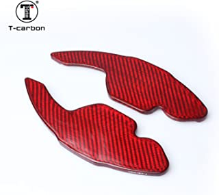 MissBlue Genuine Pure Carbon Fiber Car Steering Wheel Shift Paddle Blade Shifter Extension for Audi A3 A4L A5 A6L A7 A8 Q3 Q5 Q7 R8 RS3 RS6 S5 S6 S7 S8 SQ5 TT TTS - Red