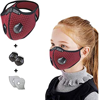 Luckylin Kid Cycling Cotton Face Bandanas with 2 Valve,Resuable & Washable,Dustproof,Anti-Dust,Face Health Protection for Children, Free 2 Replaceable Filter Sheets