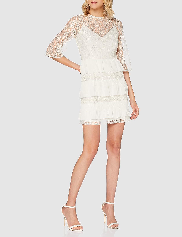 Little Mistress Teigen Cream Lace Tiered Mini Shift Dress Vestido Fiesta Mujer