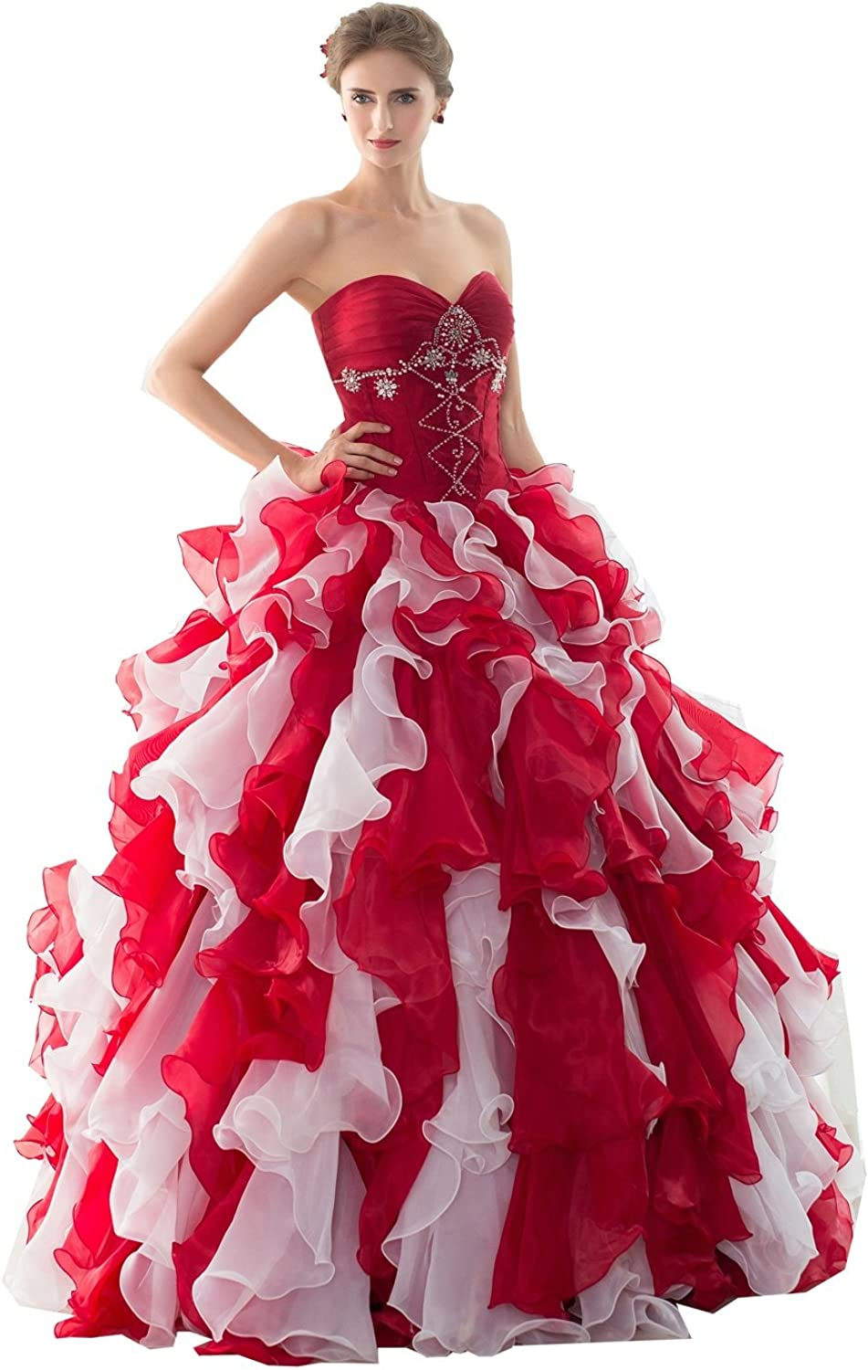 Lavaring Women's A Line Wrinkled Sweetheart Lace up Prom Dress with Coat