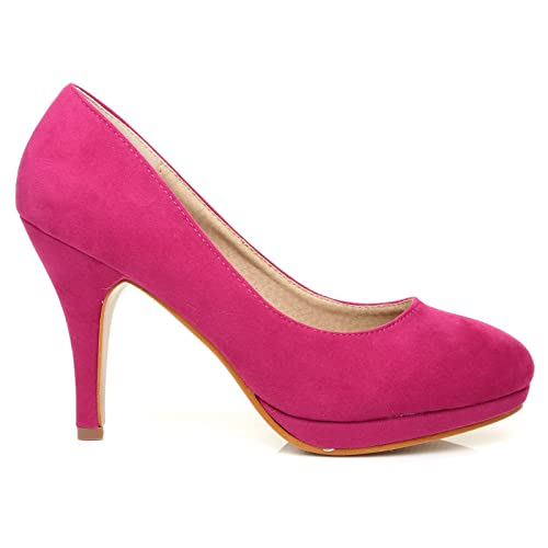 8961987b42 CHIP Fuchsia Pink Faux Suede Pumps Mid-High Heel Low Platform Office Court  Shoes