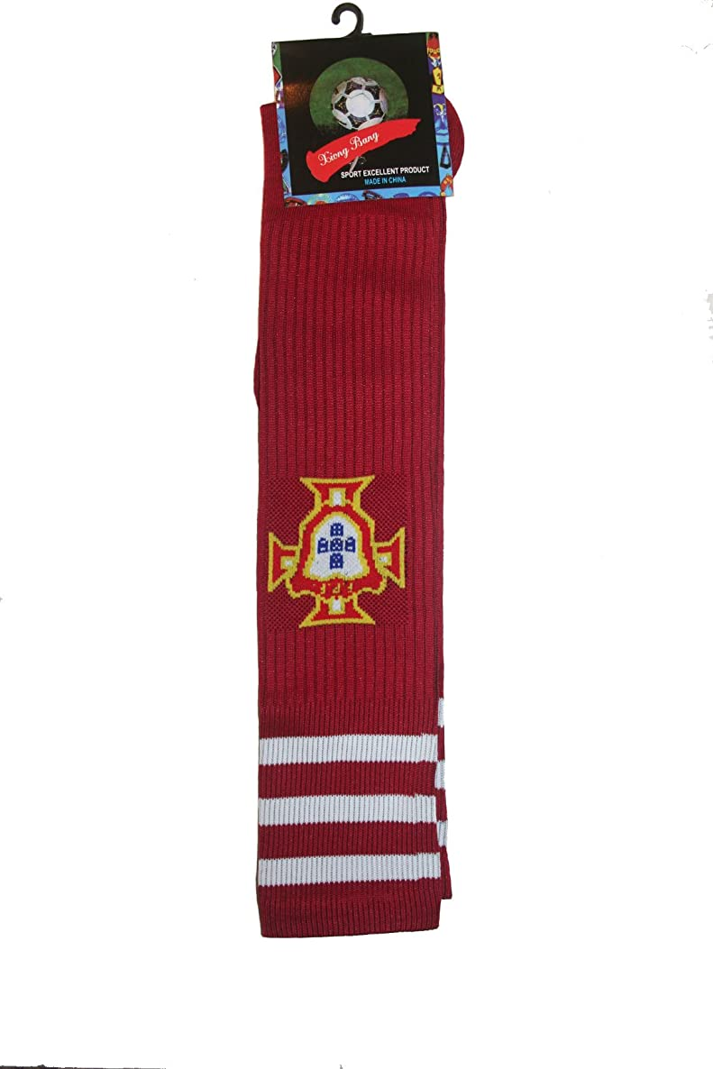Portugal Red FPF Logo Soccer World Cup Socks .. Adult Size .. New