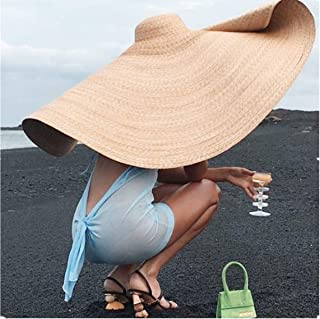 FWEIP Huge Sun Hat, Collapsible Sunshade Beach Straw Hats Anti-UV Sun Protection Foldable Straw Cap Cover Unisex ins Fashi...