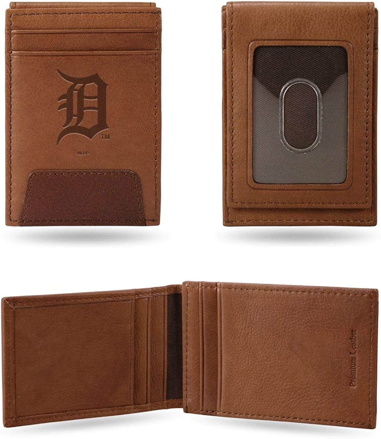 Rico Industries, Inc. Detroit Tigers Premium Brown Leather Money Clip Front Pocket Wallet Embossed Baseball