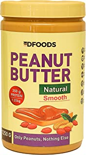 DFOODS All Natural Peanut Butter (Smooth) (1.25kg) | Unsweetened | 350g Protein | Non GMO | Gluten Free | Vegan | Choleste...