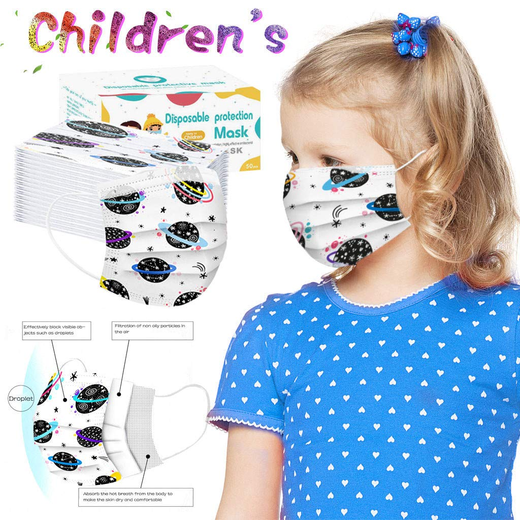 Cocotv 50//100pcs Cute kids Disposable 3-Ply Anti-Dust Face Cartoon Print Planet printing Breathable Safety Covering with Elastic Earloop Face Bandanas for Unisex Children Kids 100PCS