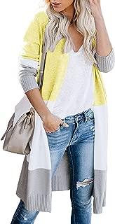 DREAGAL Womens Boho Open Front Cardigan Colorblock Long Sleeve Knit Sweaters
