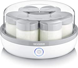 SEVERIN Yaourtière compacte, 7 pots de 150ml inclus, 100% sans BPA, graduation mémo, idéale yaourts faits maison, JG3518