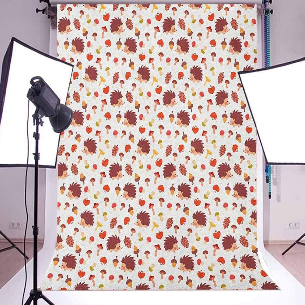 8x12 FT Vinyl Photography Background Backdrops,Cute Autumn Inspired Pattern with Natural Elements Hedgehogs Acorns and s Background for Child Baby Shower Photo Studio Prop Photobooth Photoshoot