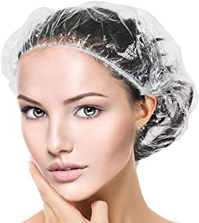 AYWFEY 100 Pieces Clear Disposable Shower Cap, Portable Elastic Shower Bath Cap Thick Large Waterproof for Women Spa,Trave...