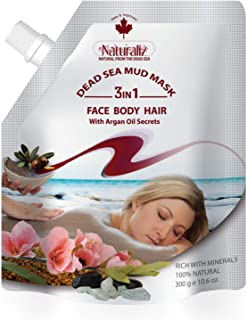 Naturaliz Dead Sea Mud Face Mask, Body and Hair Applicator with Argan Oil, 10.6 oz