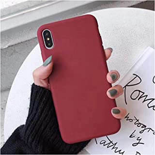 Moskado for iPhone 7 Phone Case Simple Solid Candy Color for iPhone 11 Pro X XR XS Max 6 6s 8 Plus Silicone Soft TPU Back Cover,for iPhone XR,5018WR