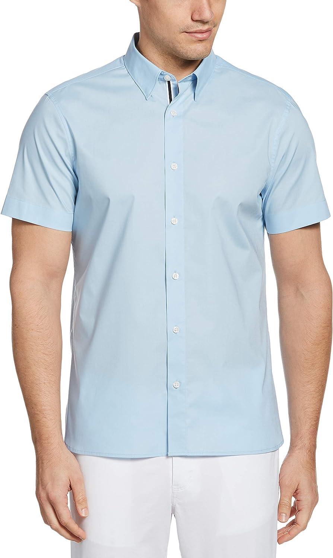 Perry Ellis camisa de popelina de manga corta con botones ...