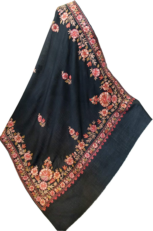 ee4e91ffd Floral Black Embroidered Wool Crewel Wrap 40 80 Art Kashmir ...