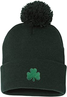 d5be1bf43d8 Go All Out Adult Shamrock St. Patrick s Day Embroidered Knit Beanie Pom Cap