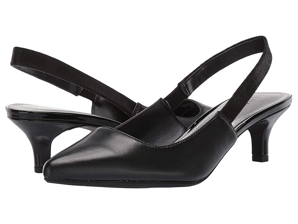 Anne Klein Aileen Slingback Heel (Black Leather) Women