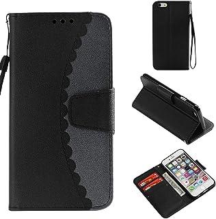 iPhone 6 / iPhone 6s ケース OMATENTI 手帳型 マグネット式 カバー かわいい カード収納 スタンド機能 iPhone 6 / iPhone 6s 耐衝撃 合皮レザー 手帳 ケース (8-ブラック、グレー)