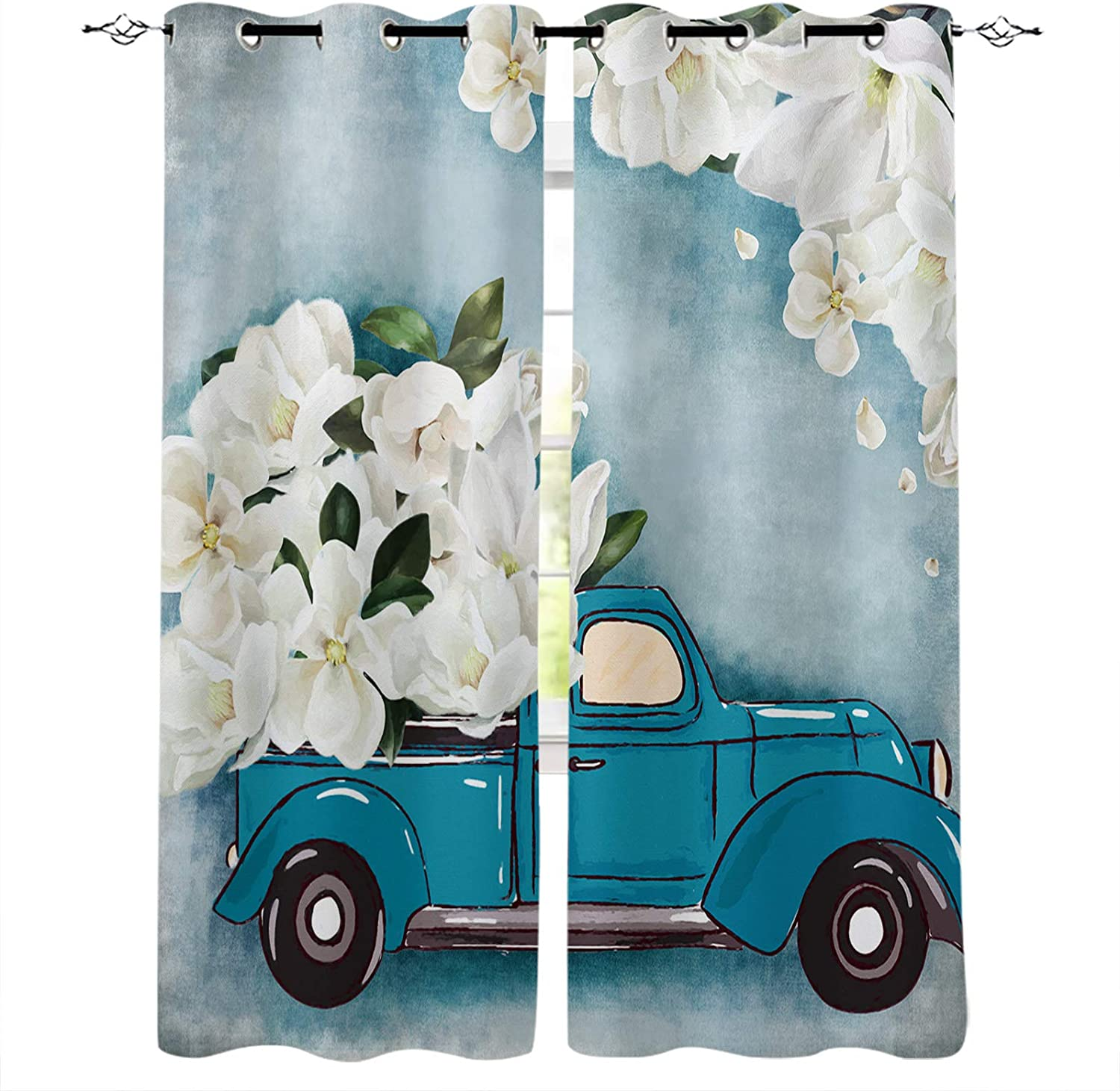 Blackout Curtains Attention brand for Bedroom Truck Flower White Blue Pain Daily bargain sale with