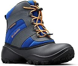 Columbia Boys' Youth Rope Tow III Waterproof Snow Boot, Azul, Orange Blast, 4 Regular US Big Kid