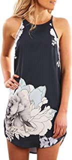 Asvivid Womens Halter Floral Printed Sleeveless Beach Mini Casual Dress Summer Short Sundresses